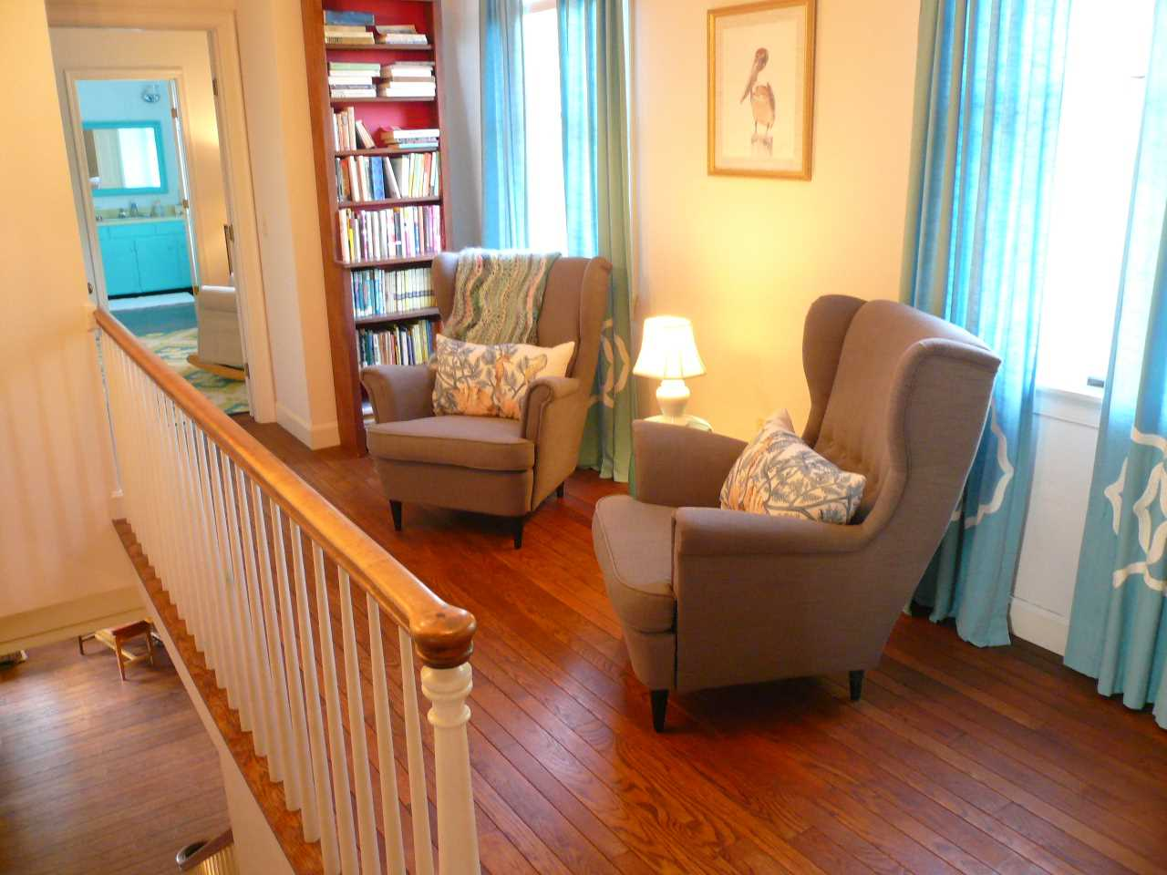 Upstairs seating area