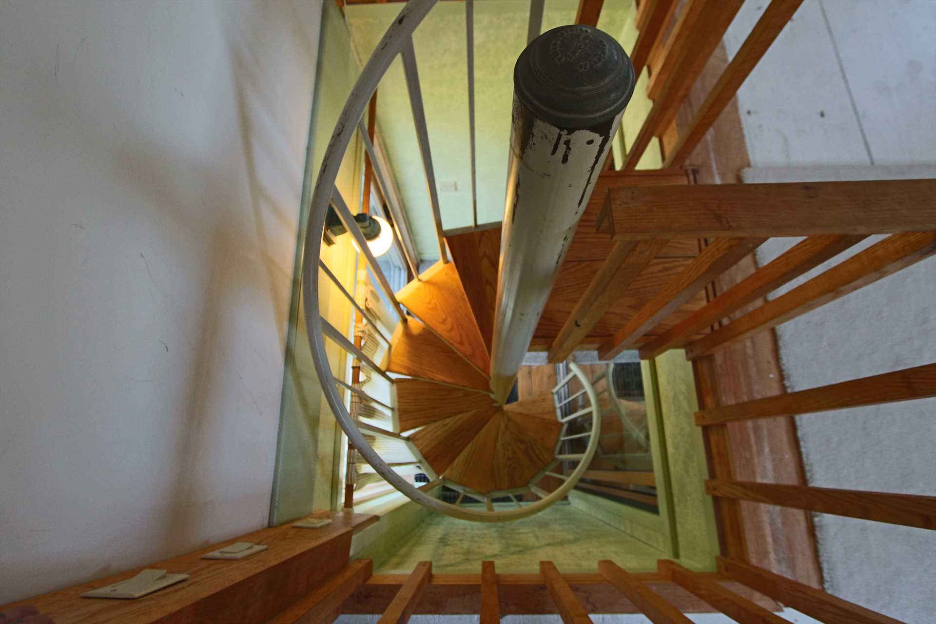 Spiral staircase to Bedroom #2