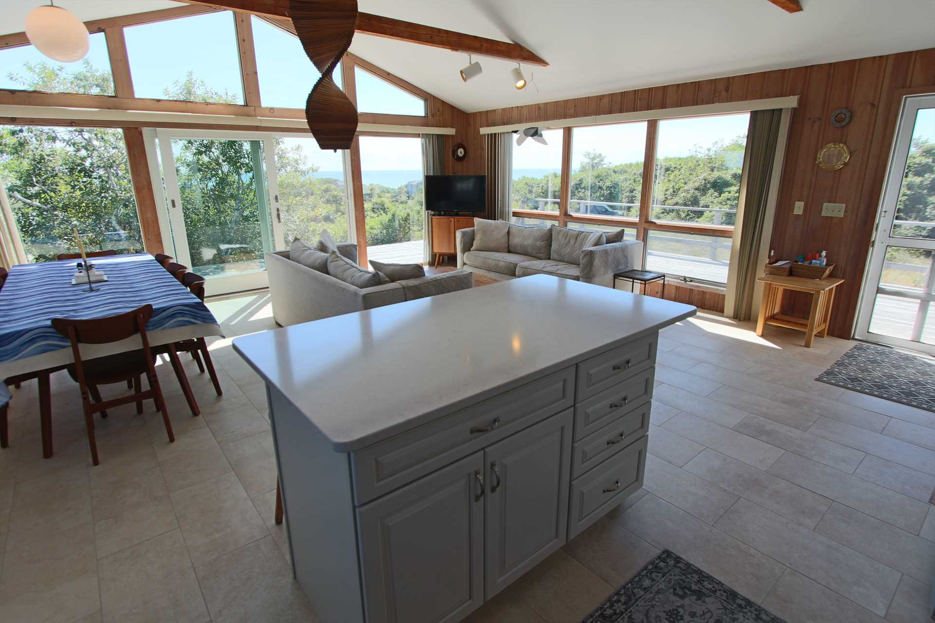 Kitchen looks out to Water View of Cape Cod Bay
